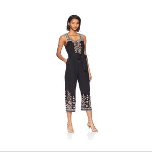 Johnny Was Embroidered Linen Cropped Jumpsuit
